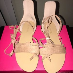 Brand New Nude Shoe Dazzle Lace Up Sandals